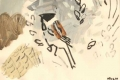 21‐4218<b>reed bunting</b>acrylic & reed pen28 x 38 cms‐GregPoole