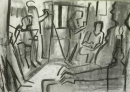 34‐2313 <b>candle lit life drawing</b>  charcoal 59.4 x 82 cms &#8208;Greg&nbsp;Poole
