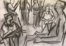 34‐2314 <b>candle lit life drawing</b>  charcoal 59.4 x 82 cms &#8208;Greg&nbsp;Poole