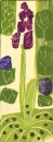 <b>early purple orchid, violets, arum</b>     acrylic   38 x 15 cms   £POA‐Greg Poole