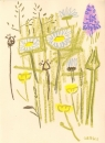 175‐6174 <b>common-spotted orchid, ox-eye daisy, goatsbeard</b> mendips wax crayon 38 x 28 cms £120&#8208;Greg&nbsp;Poole