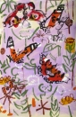 70‐6146 <b>peacock, painted ladies, small tortoiseshell & copper on mint & fleabane</b> bristol reservoirs acrylic & gouache 56 x 38 cms SOLD&#8208;Greg&nbsp;Poole