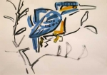 21‐4369 <b>kingfisher 2</b>  gouache A3 (29.7 x 42 cms) £75‐Greg Poole
