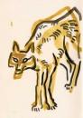 <b>jackal</b>    gouache  21 x 14.8 cms (A5)  £60‐GregPoole