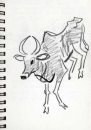 <b>sacred cow</b>      graphite   A5 notebook pages   NFS&#8208;Greg&nbsp;Poole