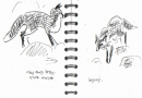bl-0002  <b>fox hunting amongst anthills</b>  folly farm  ink pen  A6 sketchbook &#8208;Greg&nbsp;Poole