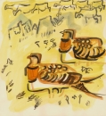 194‐6660 <b>pin-tailed sandgrouse & sheep 2</b> extremadura, spain gouache 32 x 32 cms ‐Greg Poole