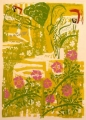 91‐4995 <b>green woodpecker & dog rose</b>   60 x 43 cms £190&#8208;Greg&nbsp;Poole