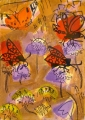 181‐6250 <b>burnet moths, painted lady, kidney vetch, harebells & scabious</b> mendips monoprint & acrylic 42 x 29.7 cms (A3) SOLD‐Greg Poole