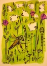 76‐4126 <b>4-spotted chaser, cotton grass & meadow thistle</b>   A3 (42 x 29.7 cms) £60‐Greg Poole