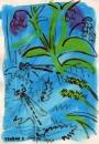 76‐4128<b>azure & blue-tailed damselflies , comfrey & tussock sedge</b>A4 (29.7 x 21cms)£70&#8208;Greg&nbsp;Poole