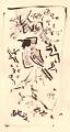 21‐4414<b>redstart & blackthorn</b>gouache36 x 20 cms‐GregPoole