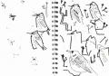 101‐5700<b>fieldfare & starlings in oak</b>A5 sketchbook‐GregPoole