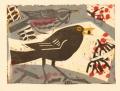 158‐6481 <b> blackbird & redwing on rowan</b> monotype23 x 31 cms£150&#8208;Greg&nbsp;Poole