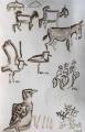 sidamo lark, black-winged lapwing & livestock ‐ gouache ‐ 36 x 24 cms ‐ £80 ‐ ethiopia‐GregPoole