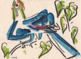 Prince Ruspoli's Turaco ‐ gouache & wax crayon ‐ 18 x 24 cms ‐ £75 ‐ ethiopia‐GregPoole