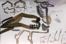 kori bustard & cattle ‐ gouache ‐ 18 x 24 cms ‐ £60 ‐ ethiopia‐GregPoole