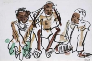 liben plains children 3 ‐ gouache & wax crayon ‐ 24 x 36 cms ‐ £90 ‐ ethiopia‐Greg Poole