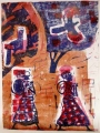 83‐5265 <b>women walking & turacos</b>   A1 (84 x 59.4 cms) SOLD&#8208;Greg&nbsp;Poole