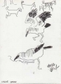 bush crows & goats ‐ ink pen ‐ 24 x 18 cms ‐ £70 ‐     ethiopia‐Greg Poole