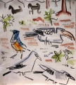 bush crows, starling & hornbill ‐ gouache & wax crayon ‐ 30 x 28 cms ‐ £120 ‐     ethiopia‐Greg Poole