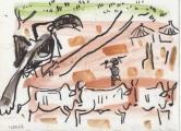 von der decken's hornbill & cattle ‐ gouache & wax crayon ‐ 18 x 24 cms ‐ £40 ‐     ethiopia‐GregPoole