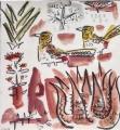 d'arnaud's barbet & aloes ‐ gouache & wax crayon ‐ 30 x 28 cms ‐ £120 ‐     ethiopia‐GregPoole