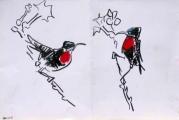 hunter's sunbird ‐ gouache & wax crayon ‐ 24 x 36 cms ‐ £90 ‐     ethiopia‐GregPoole