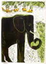 <b>elephant & weavers</b>     woodcut   77 x 53 cms   £220&#8208;Greg&nbsp;Poole