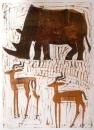 <b>rhino & impala</b>   monotype  73 x 53 cms  £270‐GregPoole
