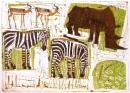 <b>zebras, rhino & impala</b>   monotype  52 x 76 cms  £270‐GregPoole