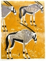 110‐5968 <b>gemsbok</b> Etosha, Namibia monotype 54 x 42 cms SOLD&#8208;Greg&nbsp;Poole