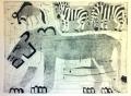 110‐5996<b>lion, zebra & wildebeest</b>Etosha, Namibiamonotype59.4 x 84 cms (c.A1)£300&#8208;Greg&nbsp;Poole