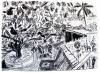 <b>barbados courtyard</b>    charcoal  59.4 x 80 cms  £250‐GregPoole