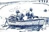 <b>barbados fishermen</b>    wax crayon  28 x 41 cms  £60‐GregPoole