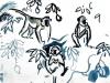 <b>barbados, green monkey 2</b>    gouache  36 x 51 cms  £90‐GregPoole
