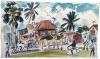 <b>barbados street scene</b>    wax crayon & watercolour  30 x 50 cms  £120‐GregPoole