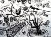 <b>carib blackbirds, barbados courtyard 2</b>    charcoal  59.4 x 80 cms  £250‐GregPoole
