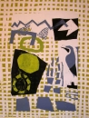 43‐1595<b>wheatear & lichens</b>monoprint78 x 60 cms£280‐GregPoole