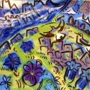 43‐1597<b>wheatears, pansy & gentians</b>acrylic59 x 56 cmsSOLD‐GregPoole