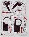66‐3444<b>3 storks</b>monoprintc. A4 (29.7 x 21cms)‐GregPoole