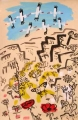 <b>white storks & painted lady migrate through the golan heights</b>   gouache & acrylic  56 x 36 cms ‐GregPoole