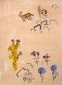 <b>gazelles & golan heights flora</b>    gouache & acrylic  76 x 55 cms &#8208;Greg&nbsp;Poole