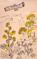<b>short-toed eagle & golan heights flora</b>   gouache & acrylic  56 x 36 cms ‐GregPoole