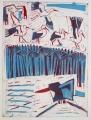 66‐3463<b>smyrnah kingfisher, papyrus & storks</b>monoprint76 x 57 cms‐GregPoole