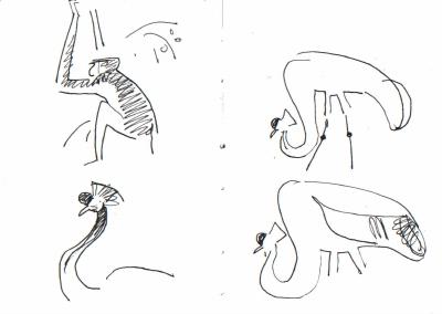 crowned cranes & patas monkey