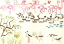 213‐6888 <b>flamingos,pintail, whistling duck & waders</b> gouache 35 X 50 cms   ‐Greg Poole