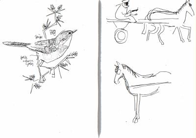 whitetrhroat & horse cart