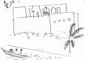 218‐6957<b>pirogue & building study</b>st louisink penA6 sketchbook‐GregPoole