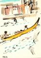 218‐6945<b>fishermen & terns, st louis</b>st louisdip pen, indian ink & gouache35 x 25 cms‐GregPoole
